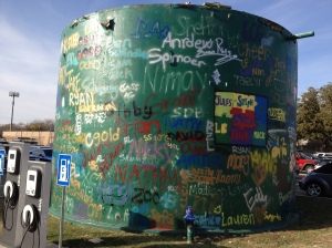 Seniors get to graffiti the water tank every year.