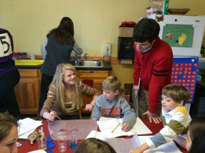Pomfret High School student teaching 2nd graders during Project:Pomfret